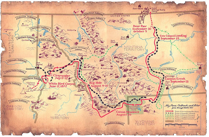 800px-Flight_of_the_Nez_Perce-1877-map - coutesy US National Park Service