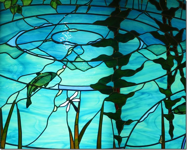Stained glass depiction of Salmon in Columbia River - Kootenay National Park Visitor Centre - Francis Guenette photo