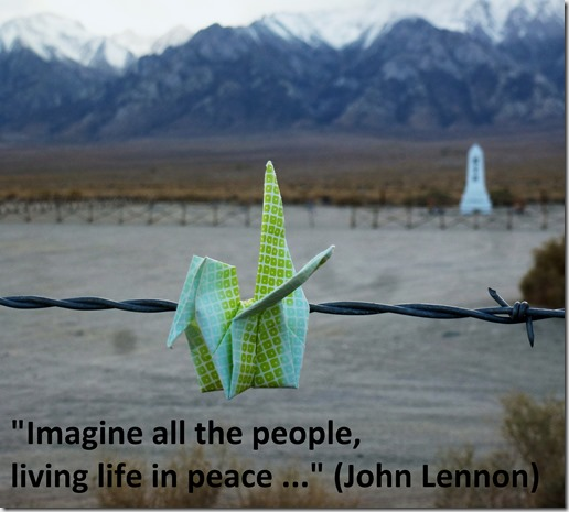 Peace crane @ Manzanar - with text
