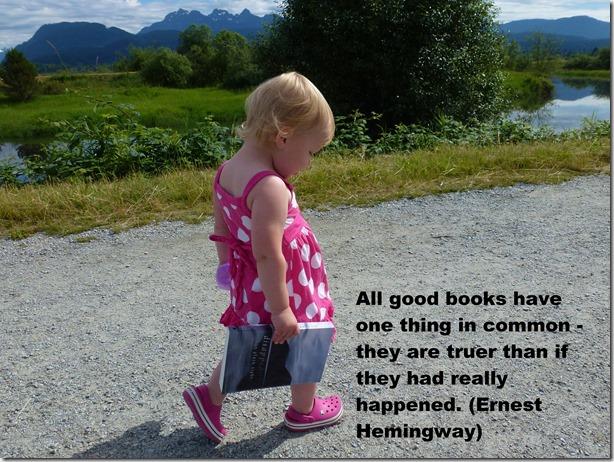 Brit at Maple Ridge Dike - with Hemingway quote