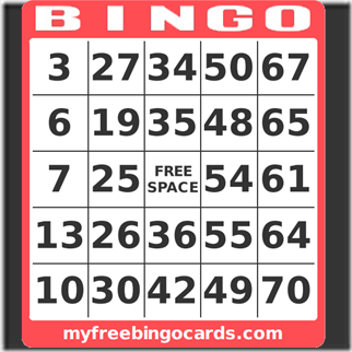 bingo card - google image