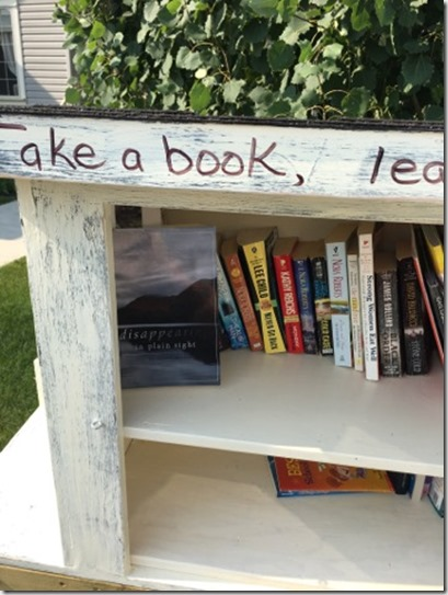 DPS in a take a book outdoor library