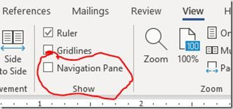 Capture - navigation pane